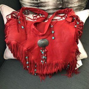 JK Brand Red Deerskin Leather Fringe Shoulder Bag